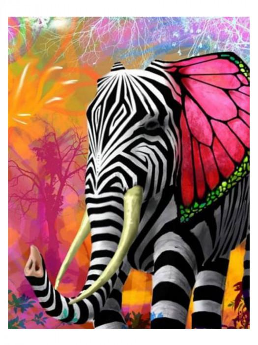 Zebra Olifant 50x40 Diamond Painting