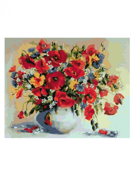 Bloemen Rood 50x40 Schilderen op Nummer