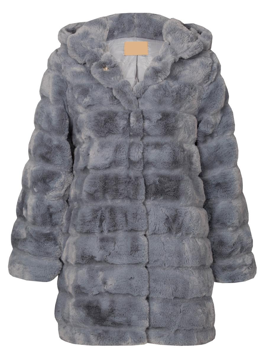Image of Fake Fur Coat Gray