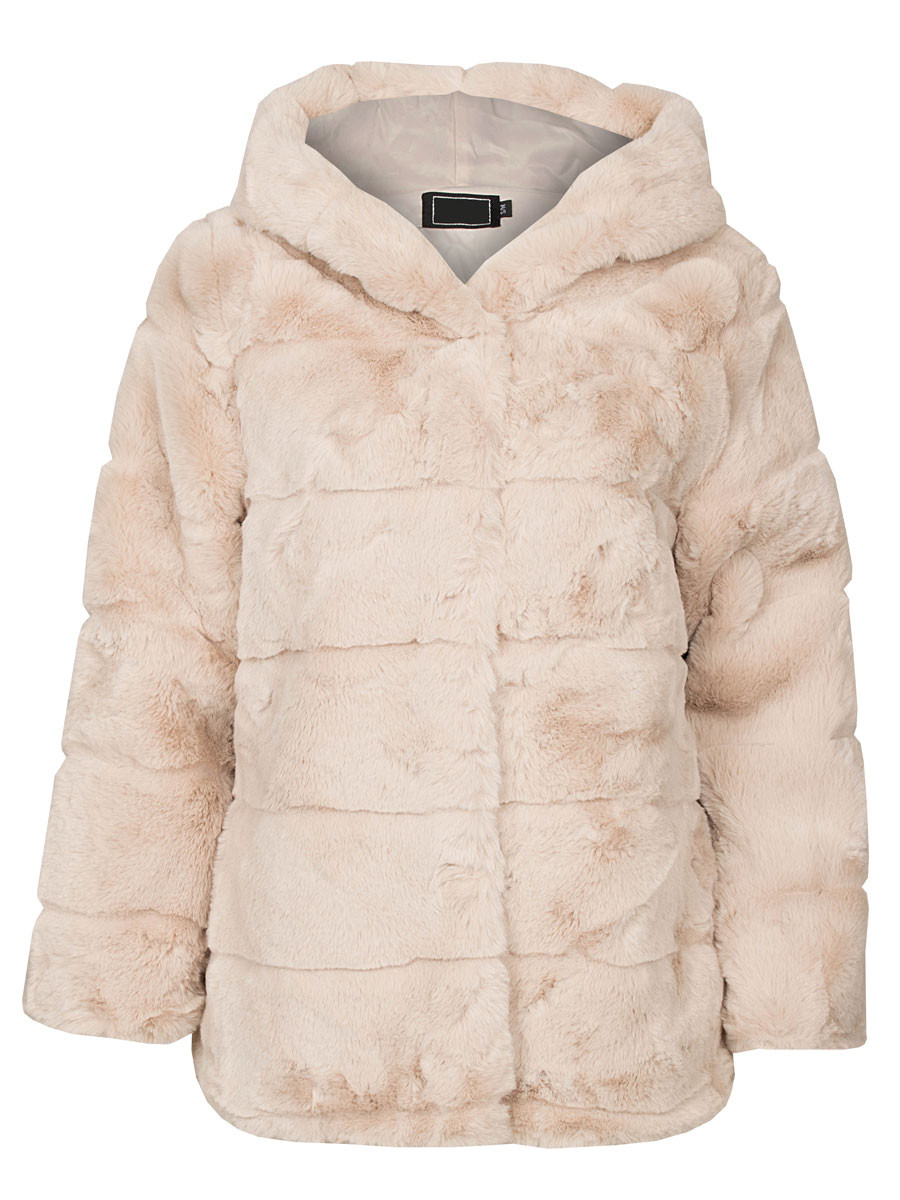 Coat Faux Fur Beige