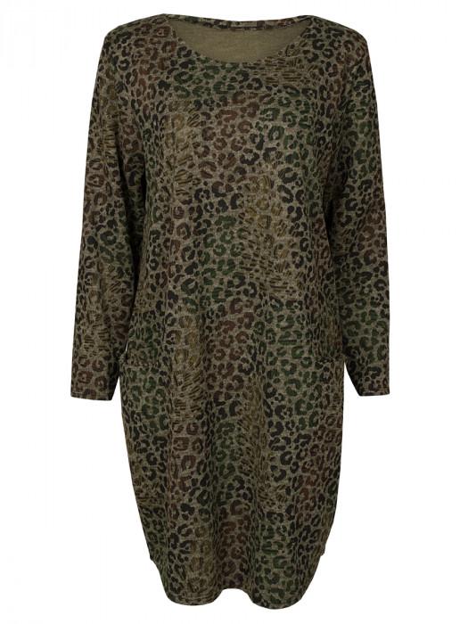 Sweater Dress Leopard Groen