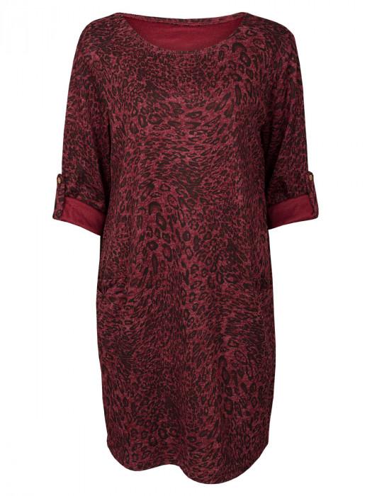 Sweater Dress Leopard Bordeaux