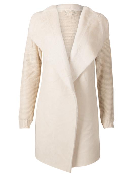 Vest Knitted & Fur Ecru