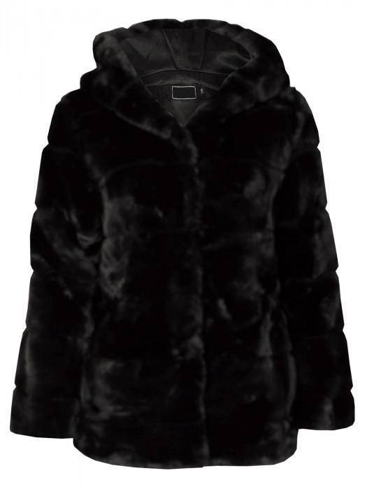Coat Faux Fur Zwart
