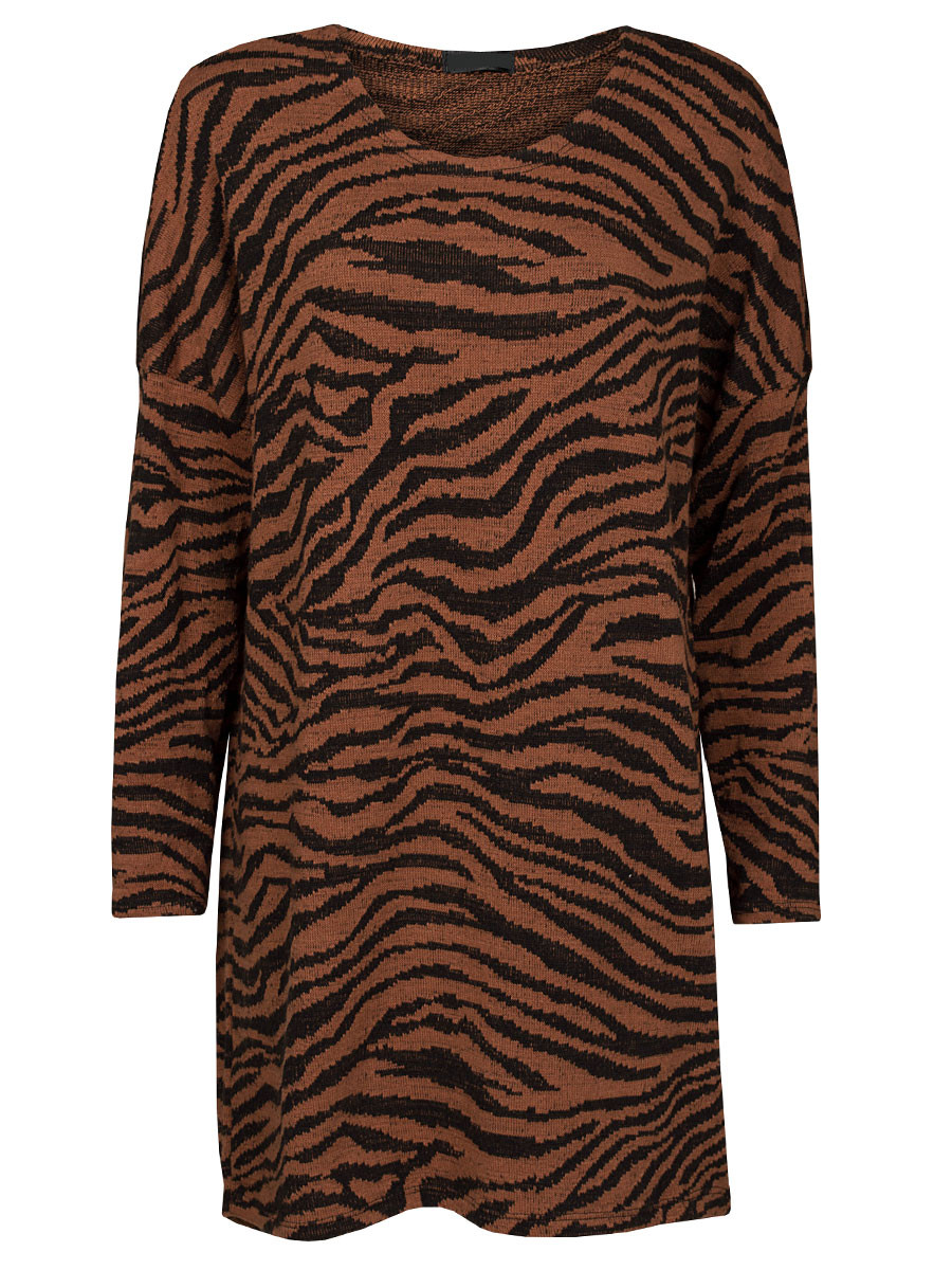 Sweater Dress Zebra Brique