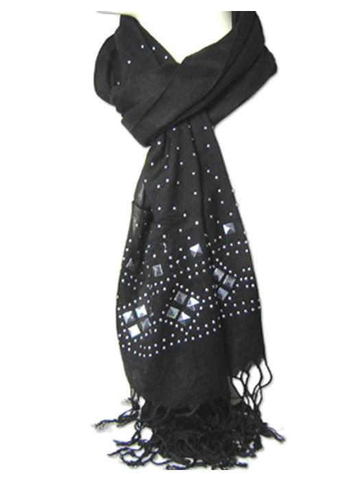Sjaal zwart met studs