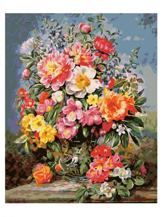 Bloemen Gekleurd 50x40 Schilderen op Nummer