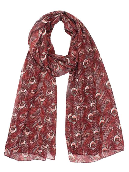 Sjaal Peacock Bordeaux