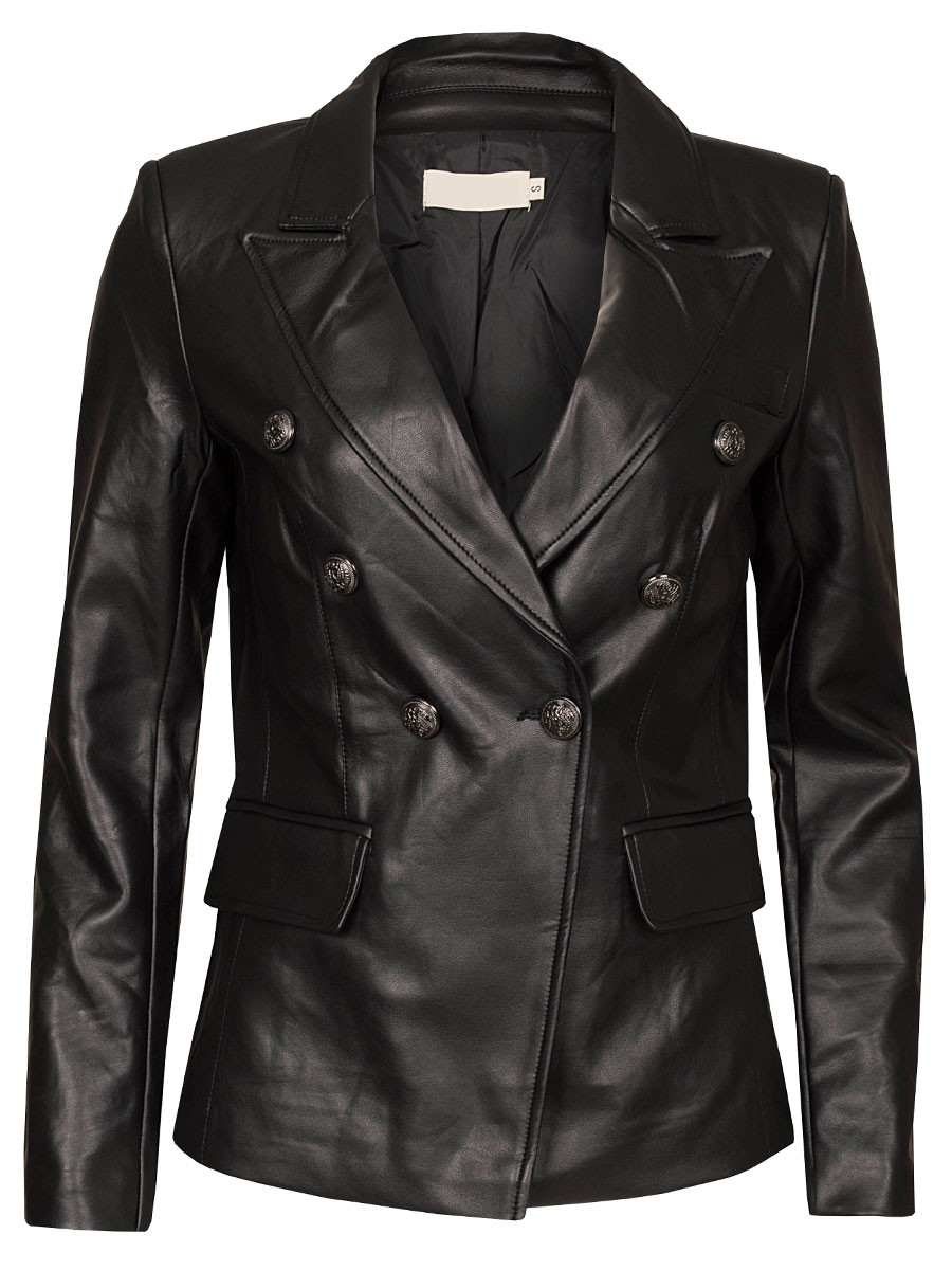 Blazer Lederlook Zwart