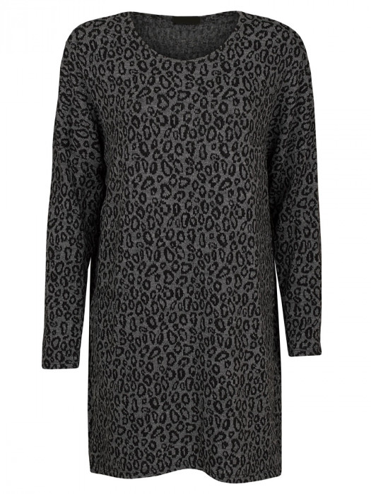 Sweater Dress Leopard Grijs
