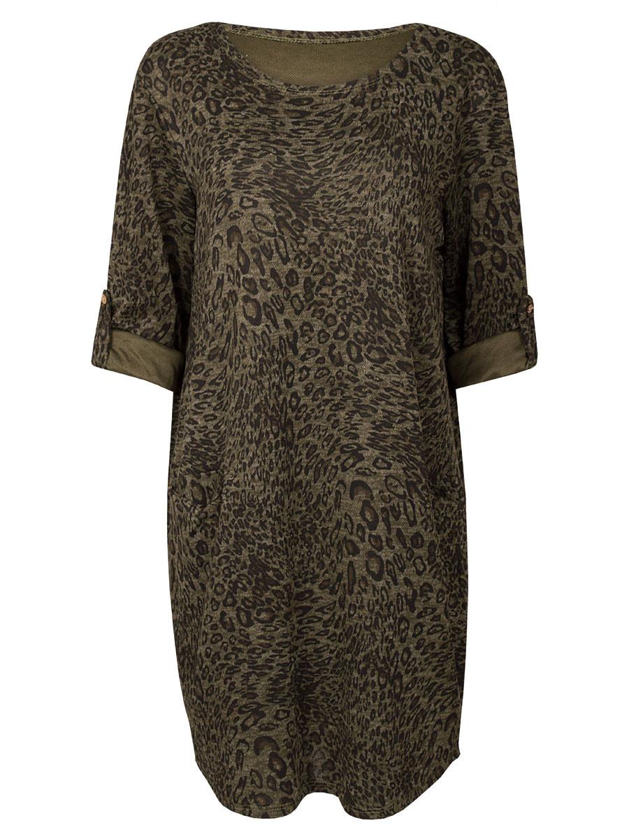 Sweater Dress Leopard Army