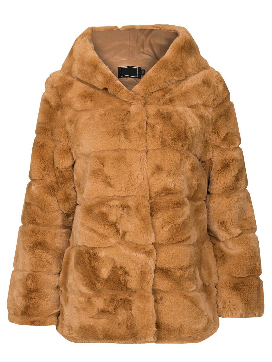 Coat Faux Fur Camel