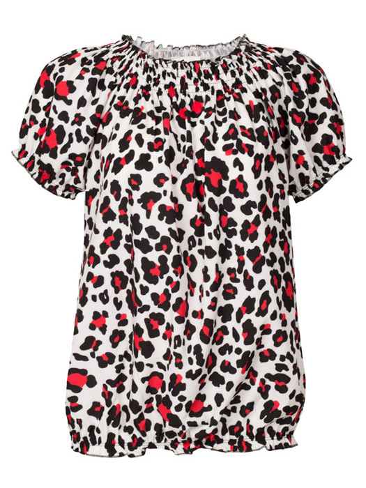 Top Leopard Wit/Rood