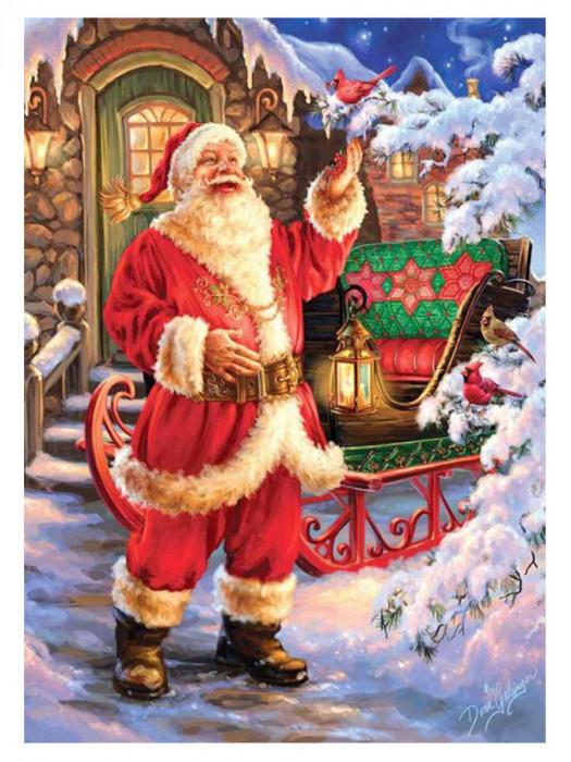 Kerstman met Slee 40x30 Diamond Painting