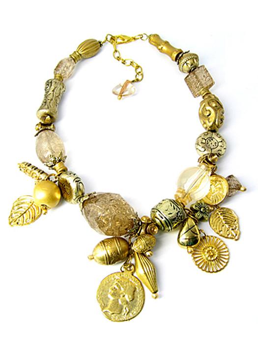 Halsketting goudkleurige kralen