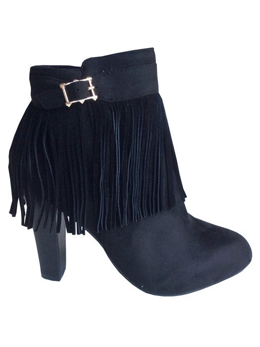 Fringe Booties Black