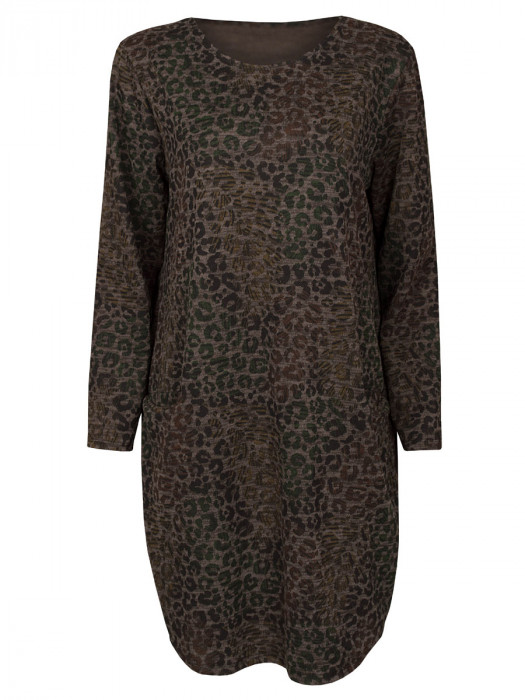 Sweater Dress Leopard Taupe