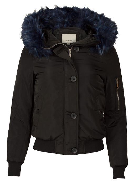 Image of Bomberjacket Fake Fur Black