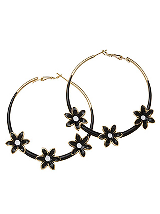 Oorbel Loop flower black