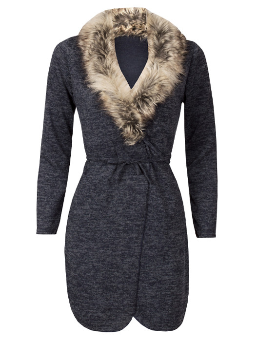 Image of Vest Melange Navy & Fur
