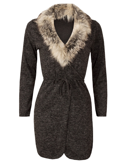 Image of Vest Melange Black & Fur