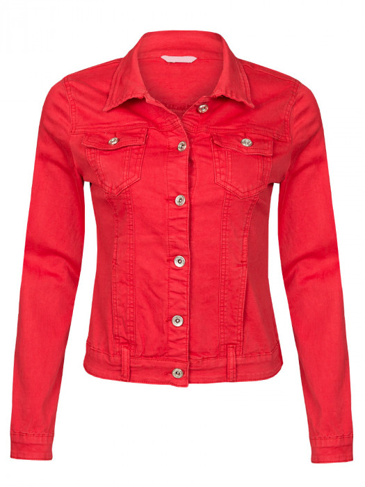 Jeans Jacket Stretch Rood