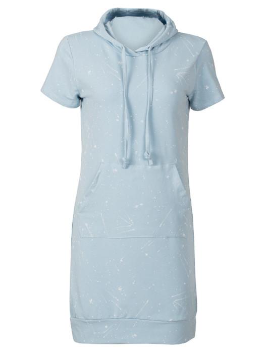 Painted Hoodie Dress Blue