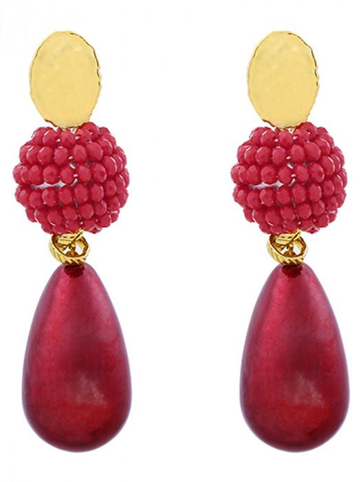 Oorbellen Luxury Pearldrop Rood
