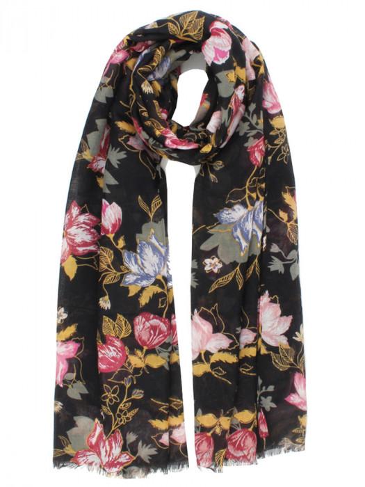 Sjaal Bloemen Zwart