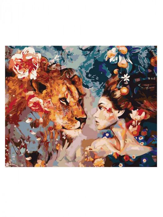 Leeuw en Vrouw 50x40 Schilderen op Nummer