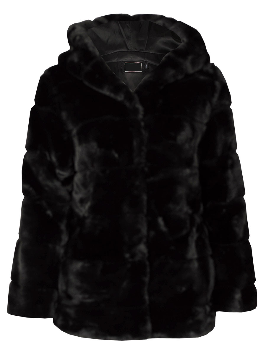 Coat Faux Fur Zwart