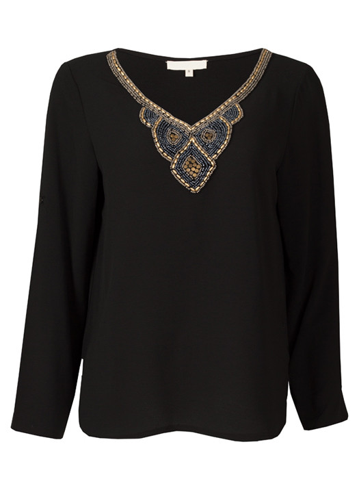 Top Beaded Collar Black