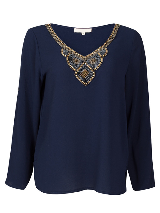 Top Beaded Collar Navy