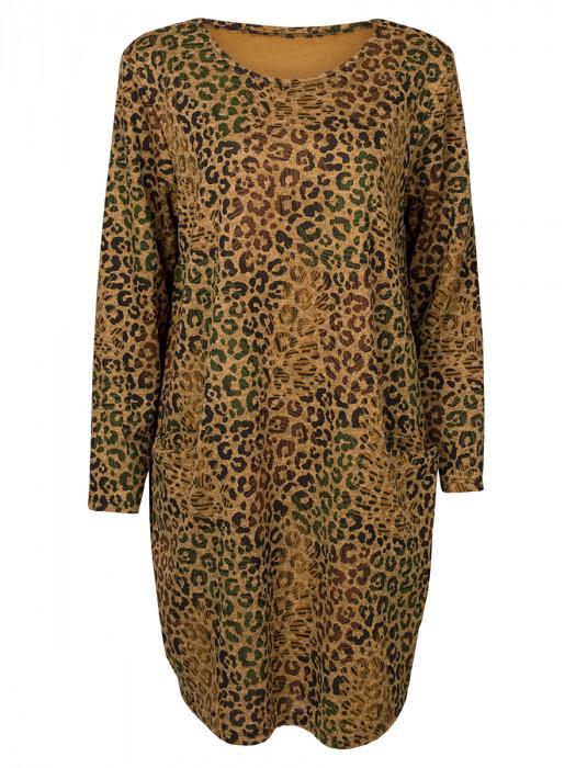 Sweater Dress Leopard Oker