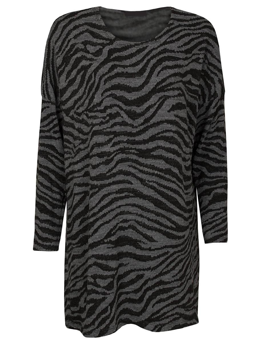 Sweater Dress Zebra Grijs