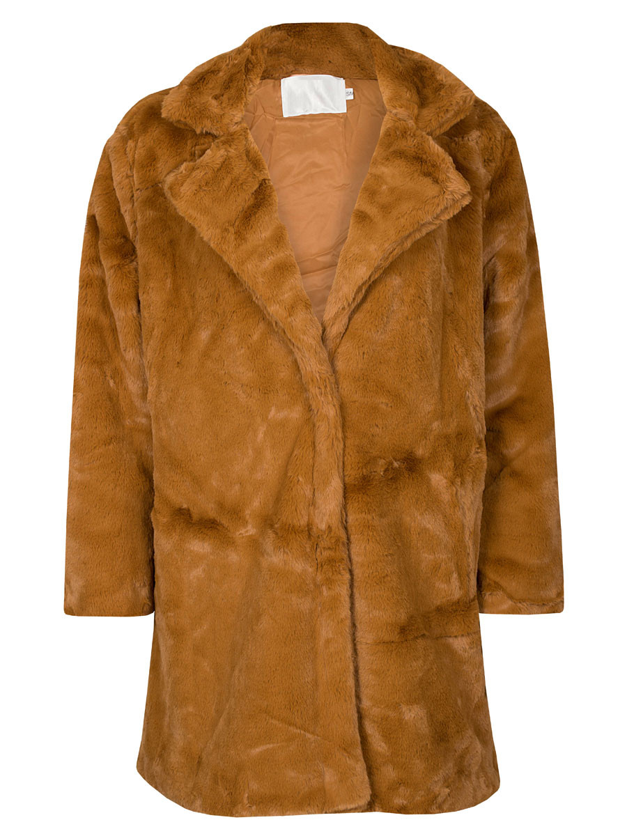 Coat Fake Fur Camel