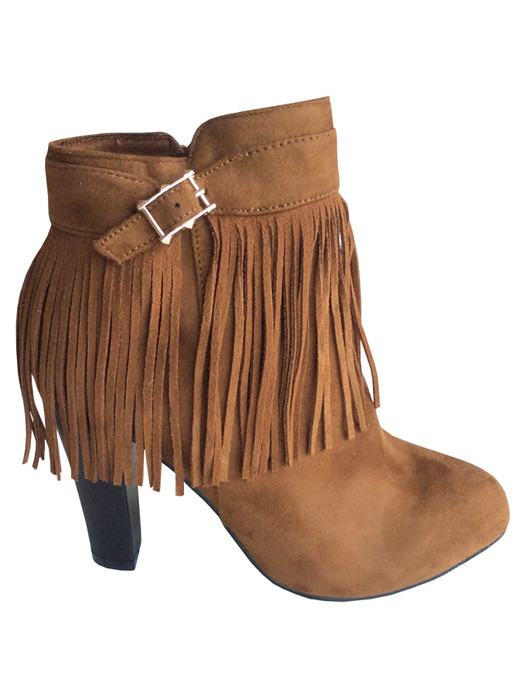 Image of Fringe Booties Camel