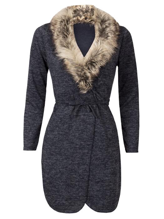 Vest Melange Navy & Fur