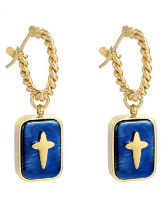 Oorbellen Cross Blauw