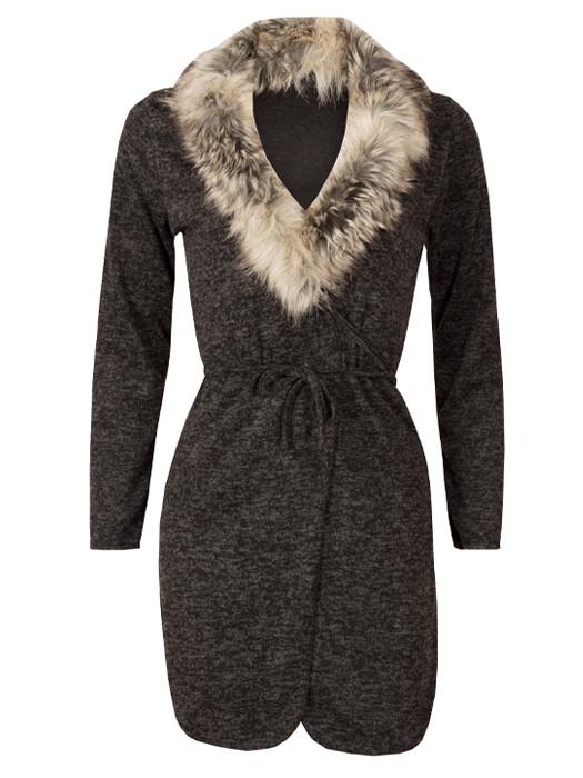 Vest Melange Black & Fur